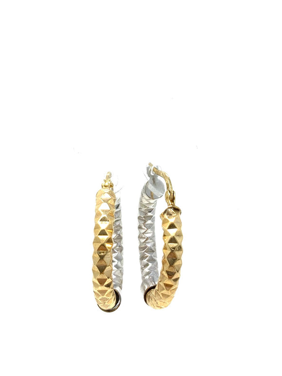 10K Two Tone Hoop Earrings