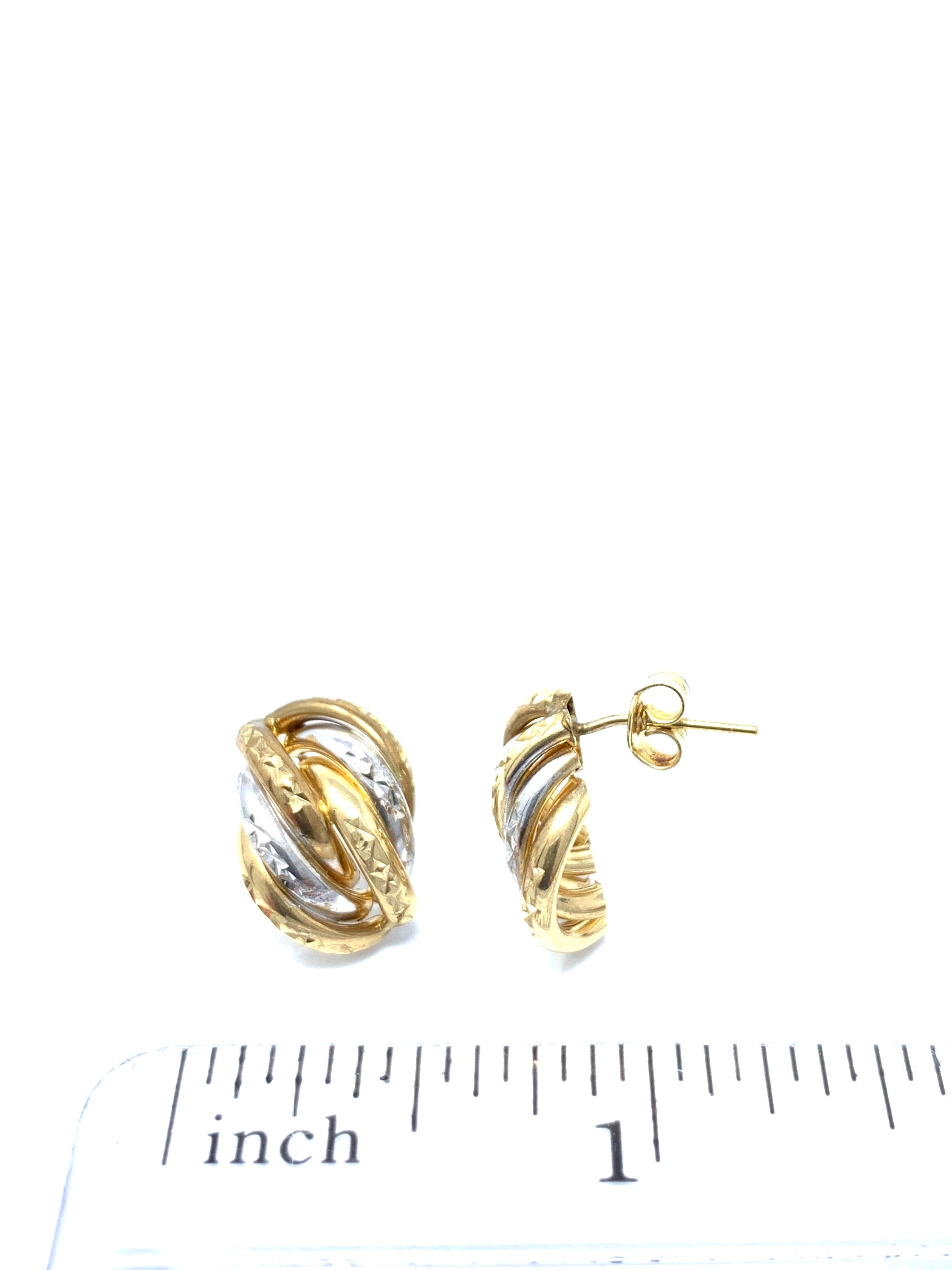 10K Two Tone Earrings