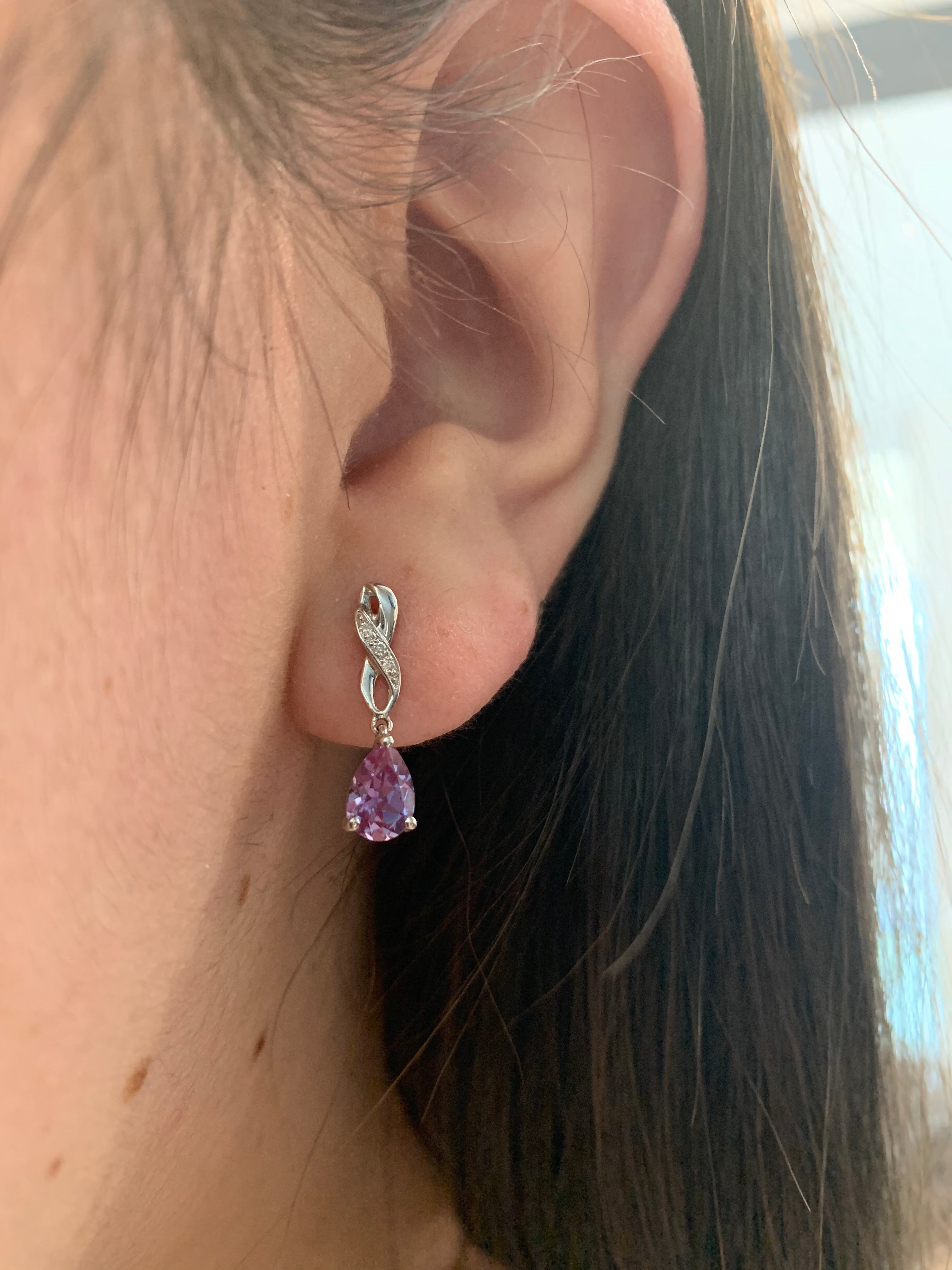 Created Alexandrite and Diamond Earrings