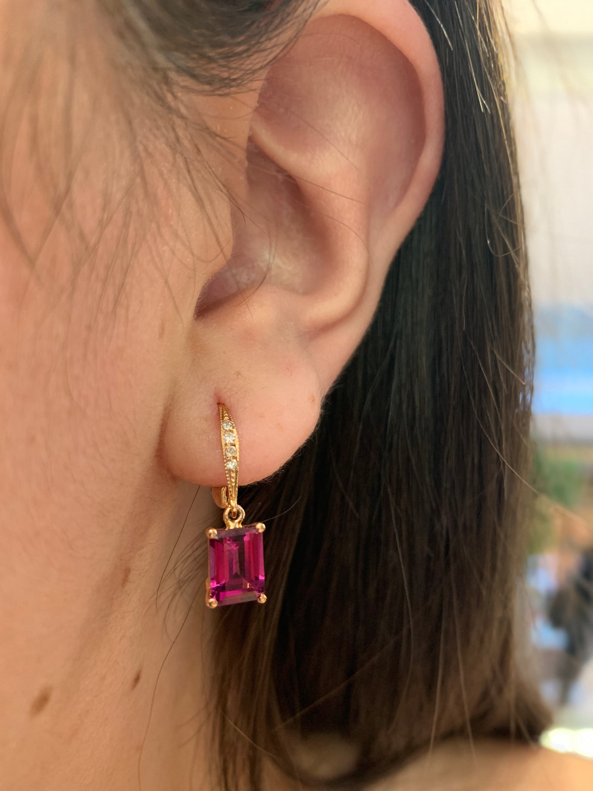 Rhodalite Garnet & Diamond Earrings