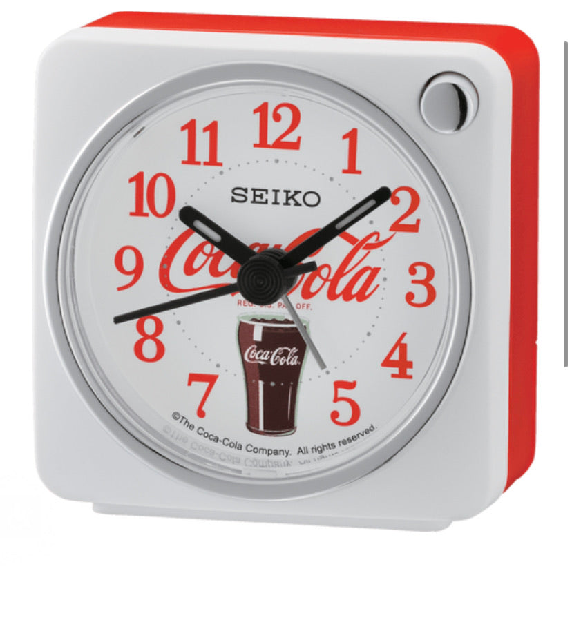 "2"" Coca-Cola® Silent Snooze Night Light SEIKO Alarm Clock QHE905WLH"