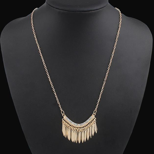 Fashion Womens Bib Crystal Rhinestone Pendant Long Chain Statement Necklace