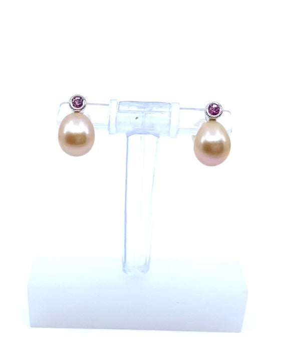 10K White Gold Fresh Water Pearl & Pink Sapphire Earrings