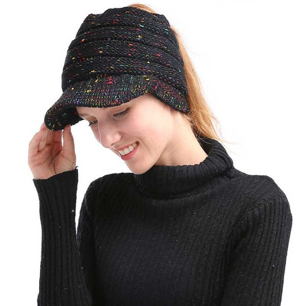 ... Fashion Women Ponytail Beanie Hat Knitted Winter Cap Casual Woolen  Crochet Slouchy Beanies Hats Female Stretch ... 111ab8c929c
