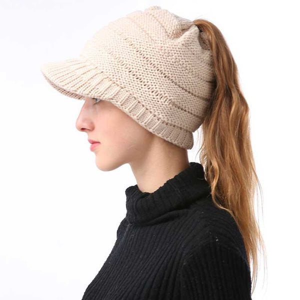 4c2dfdfdbdb4a ... Fashion Women Ponytail Beanie Hat Knitted Winter Cap Casual Woolen  Crochet Slouchy Beanies Hats Female Stretch ...