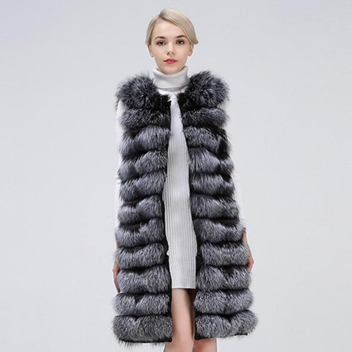 FUR VEST 100% Genuine Silver Fox Fur Stripes Vest - EK CHIC