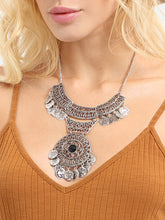 Load image into Gallery viewer, JEWELRY Antique Silver Hollow Coins Pendant Necklace - EK CHIC