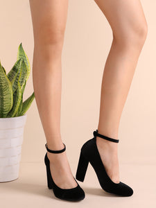 SHOES Black Velvet Almond Toe Ankle Strap Heels - EK CHIC