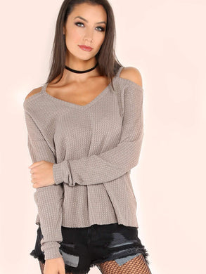 TOPS Khaki Waffle Knit Cold Shoulder T-shirt - EK CHIC