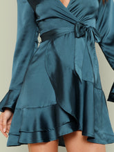 Load image into Gallery viewer, DRESS  Split Back Tiered Ruffle Surplice Belted Dress - EK CHIC