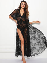 Load image into Gallery viewer, LINGERIE Surplice Wrap Sheer Eyelash Lace Night Dress without Lingerie Set - EK CHIC