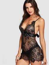 Load image into Gallery viewer, LINGERIE Bow Detail Lace Slips With Thong - EK CHIC