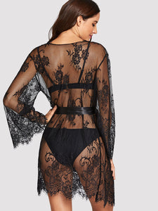 LINGERIE Floral Lace Robe With Thong - EK CHIC
