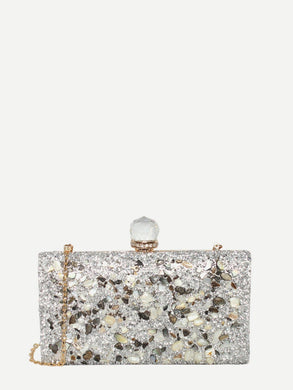 BAGS Glitter Clutch Bag With Chain - EK CHIC