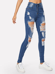 JEANS Distressed Pocket Detail Jeans - EK CHIC