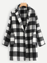 Load image into Gallery viewer, JACKET/COAT Plus Notch Collar Buffalo Plaid Coat - EK CHIC