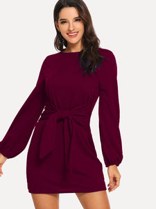 DRESS Knot Waist Solid Dress - EK CHIC