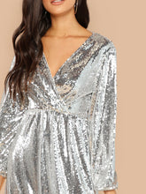 Load image into Gallery viewer, DRESS Blouson Sleeve Surplice Sequin Maxi Dress - EK CHIC