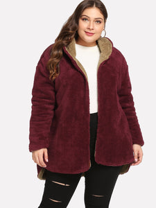JACKET/COAT Plus On Both Sides Wear Teddy Coat - EK CHIC