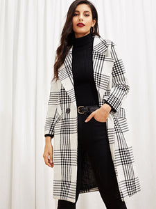 COAT Self Tie Plaid Pocket Side Coat - EK CHIC