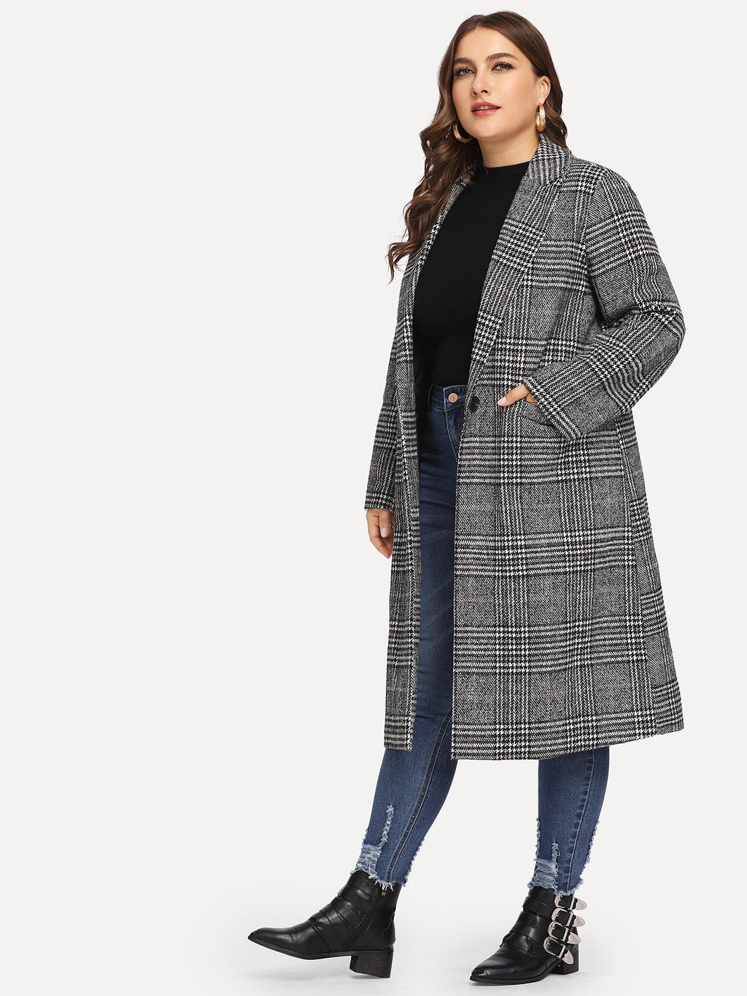 JACKET/COAT Plus Houndstooth Notched Tweed Coat - EK CHIC