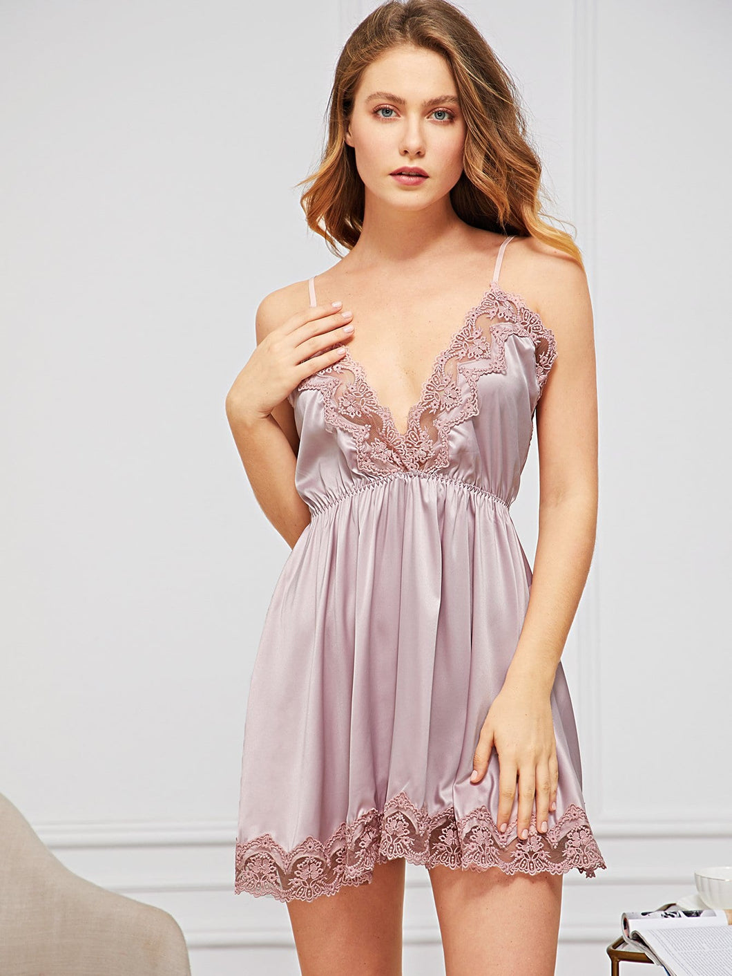LINGERIE Contrast Lace Satin Cami Dress - EK CHIC