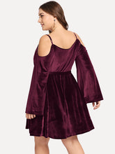 Load image into Gallery viewer, DRESS Plus Tie Waist Open-shoulder Velvet Dress - EK CHIC