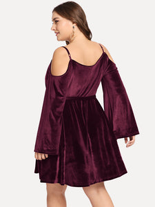DRESS Plus Tie Waist Open-shoulder Velvet Dress - EK CHIC
