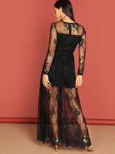 Load image into Gallery viewer, DRESS  V Cut Mesh Overlay Maxi Dress - EK CHIC