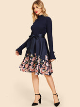 Load image into Gallery viewer, DRESS 50s Floral Frill Neck Belted Flare Dress - EK CHIC