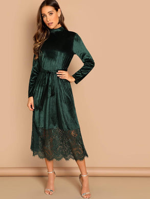 DRESSES Waist Belted Mock-Neck Velvet Dress - EK CHIC