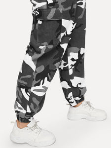 PANTS Plus Pocket Side Camo Cargo Pants - EK CHIC