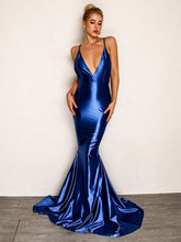 Load image into Gallery viewer, DRESS Backless Fishtail Satin Cami Prom Dress - EK CHIC