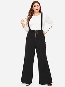 PANTS Plus Zip Front Pants With Strap - EK CHIC
