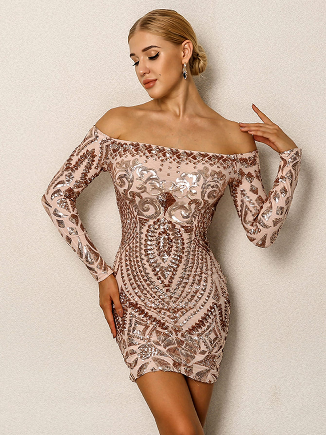 DRESS Sequin Cluster Off Shoulder Bodycon Dress - EK CHIC