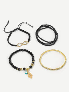 JEWELRY Hand & Infinity Beaded Bracelet Set 6pcs - EK CHIC