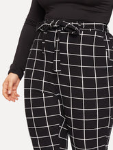 Load image into Gallery viewer, PANTS Plus Slant Pocket Belted Grid Skinny Pants - EK CHIC