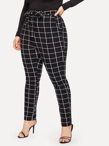 PANTS Plus Slant Pocket Belted Grid Skinny Pants - EK CHIC