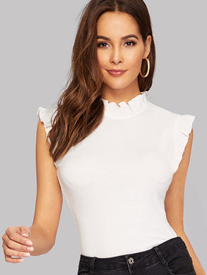 TOPS White Frilled Trim Keyhole Back Fitted Tee - EK CHIC