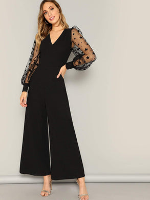 JUMPSUIT Contrast Mesh Galaxy Print Sleeve Top & Wide Leg Pants - EK CHIC