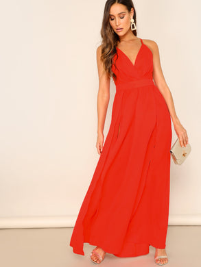 DRESS Crisscross Backless Wrap Hem Maxi Dress - EK CHIC