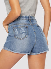 Load image into Gallery viewer, SHORTS Ripped Cuffed Hem Denim Shorts - EK CHIC