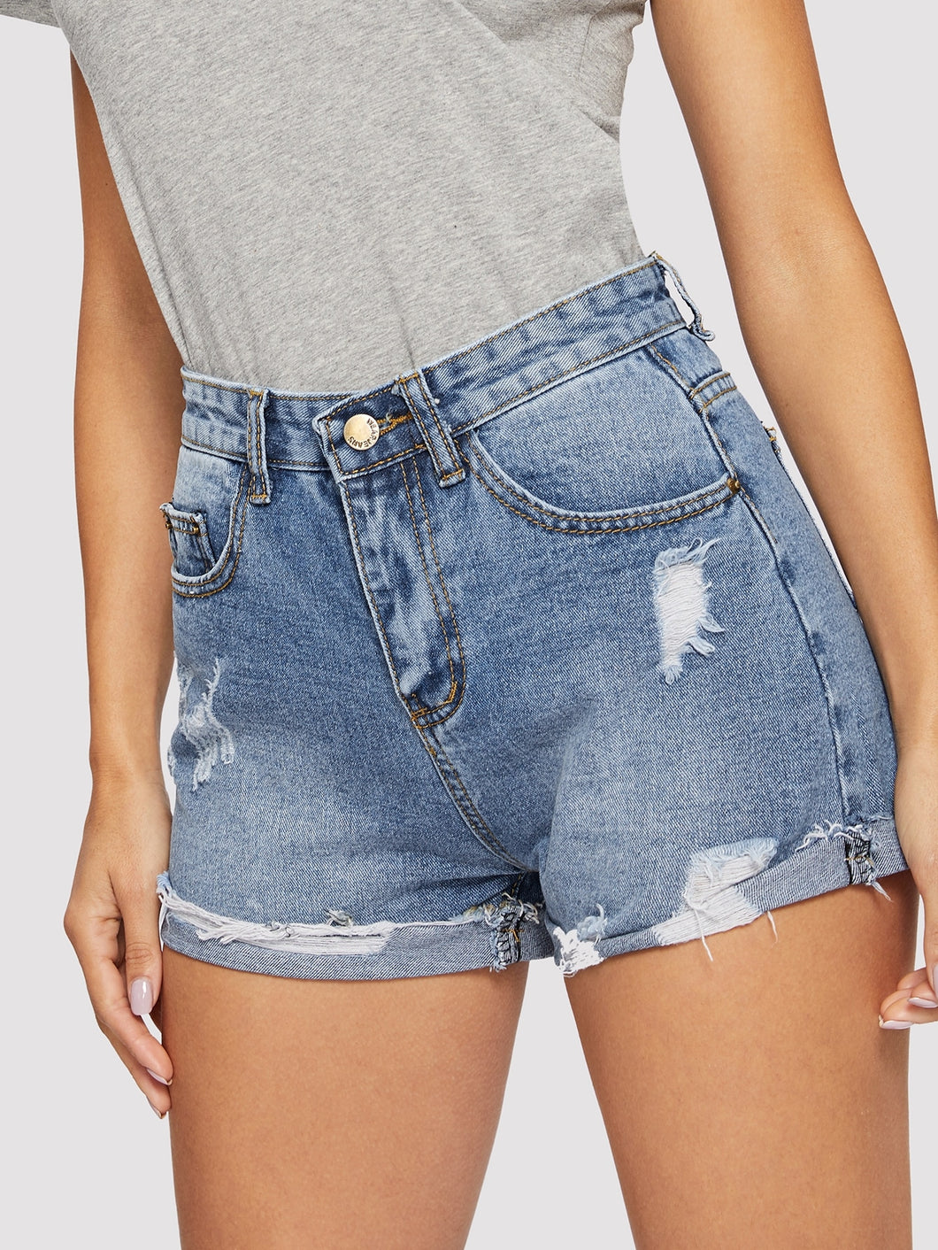 SHORTS Ripped Cuffed Hem Denim Shorts - EK CHIC