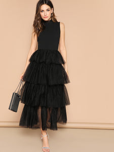 DRESS Mixed Media Layered Mesh Ruffle Dress - EK CHIC