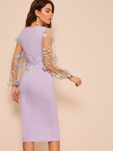DRESS 3D Embroidered Applique Mesh Sleeve Corset Dress - EK CHIC
