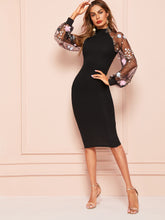 Load image into Gallery viewer, DRESS Lace Raglan Sleeve Split Back Fitted Dress - EK CHIC