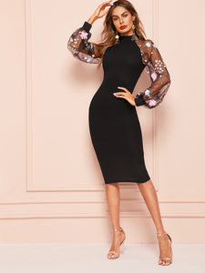 DRESS Lace Raglan Sleeve Split Back Fitted Dress - EK CHIC