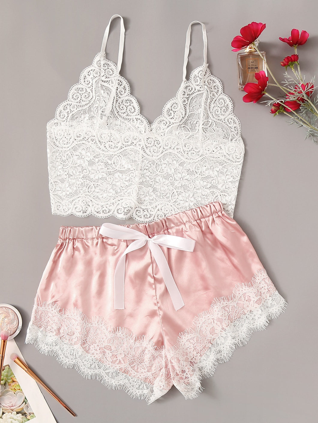 LINGERIE Floral Lace Cami Top With Satin Shorts - EK CHIC