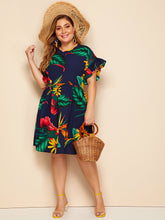 Load image into Gallery viewer, DRESS Plus Tropical Print Flounce Trim Dress - EK CHIC