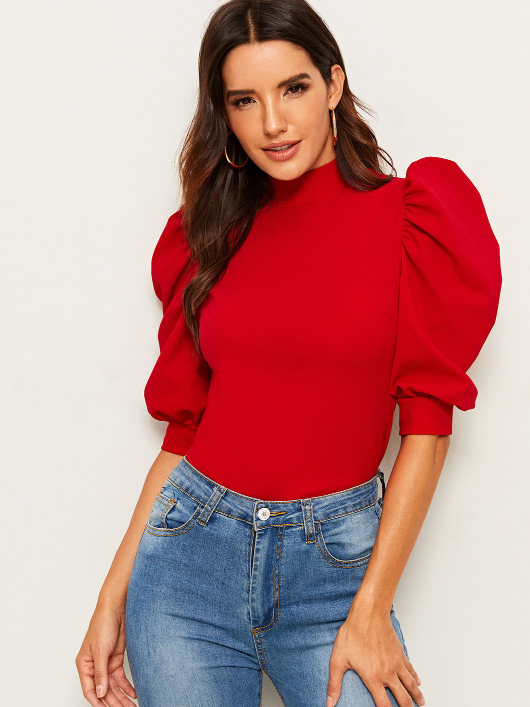 TOPS Mock-Neck Keyhole Back Puff Sleeve Top - EK CHIC